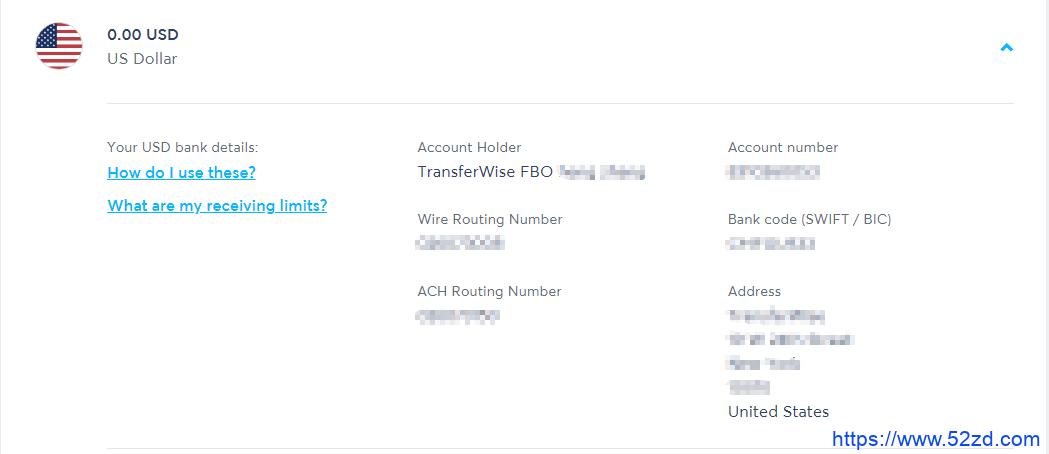 transfer wise账户收款信息
